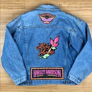 Harley Davidson Vintage Patch Denim Jean Jacket M